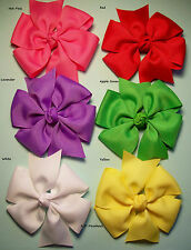 """Lot of 6 Large Pinwheel Hair Bows approx. 4.5""""... 40 colors to choose from."""