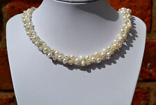 "Sterling Silver 925 Genuine FreshWater White Pearl & Beads Wrap 16.5"" Necklace"