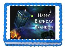 DR. WHO TARDIS edible party cake topper decoration frosting sheet image