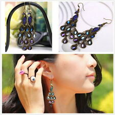 Bohemian Style Lady Long Pendant Vintage Retro Blue Peacock Earrings hot GU