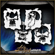 """Mini Skull Set 1"" Airbrush Stencil Template Airsick"