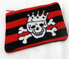 Pirate King Skull and Crossbones with Crown Knitted Purse - BNIB