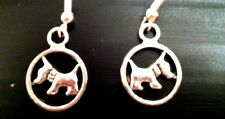 Scottie Westie Dog Silver Circle Earrings, 925 Sterling Wires, pet show animal