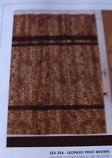 "NEW ""ZSA ZSA"" LEOPARD PRINT BROWN STRIPE FABRIC SHOWER CURTAIN"