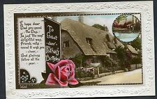 C1920's Birthday Card 'Greet Dear Father' Cottage & Rose