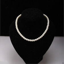 Elegant Women 8mm Faux White Pearl Beads Necklace Chunky Choker Jewelry Gift