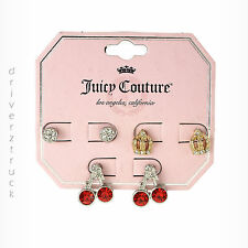 JUICY COUTURE 3 Pair STUD EARRINGS Red CHERRIES Gold CROWN & Round Faux CRYSTALS
