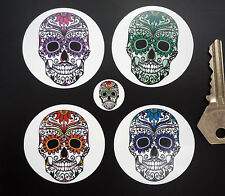 DAY OF THE DEAD Sugar Skull STICKERS 50mm x4 Mexican Rockabilly Día de Muertos