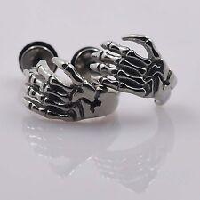 Stainless Steel Skeleton Hand Stud Earrings Silver Ear Studs Cheater Gauge Plugs