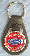 Red Ford CROWN VICTORIA Black Leather Keyring Center logo 1955 1956 1957 1958
