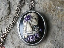 *FOREVER LOVE SKELETON WOMAN (HAND PAINTED) CAMEO ANTIQUED SILVER PLATED LOCKET