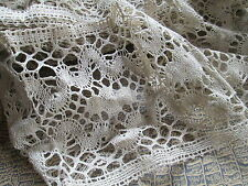 Antique/Vintage curtain lace Brugge from natural linen/made in Belguim
