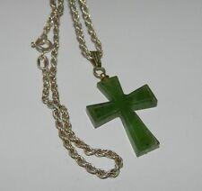 Collana in argento 925 con ciondolo a croce in Giada OMA19