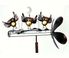 Dancing Owls Whirligig Wind Spinner Outdoor Art Yard Stake