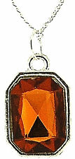 Silver Plated Amber Coloured Girls Ladies Womens Pendant Necklace 16 Inch Chain