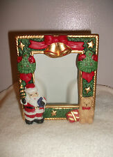 3D Christmas Photo Frame  Santa & Bear with Gold Trim   Poly Resin