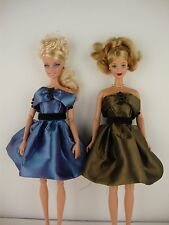 Set of Two Sophisticated Cocktail Dresses in a Medium Blue & Olive Green