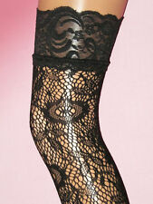Floral Lace Stockings with wide lace garter. Burlesque Size 8-12. NEW 60s boho