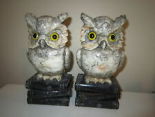 Pair of Vintage Italian Hand Carved Alabaster Owl Figural Bookends