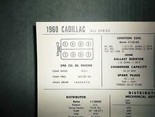 1960 Cadillac Series All Models 390 CI V8 SUN Tune Up Chart Super Condition!