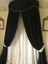 FABULOUS LARGE BED CANOPY/CORONA  BLACK & CREAM DAMASK OR ANY COLOUR LISTED