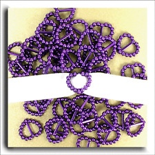 200 PEARLISED HEART SHAPED RIBBON SLIDER BUCKLES - PURPLE FOR WEDDING INVITES