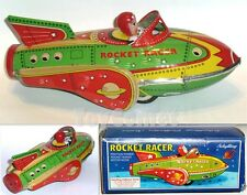 MF735 Green Rocket Racer Friction Power Space Ship Retro Tin Toy w/Box