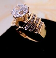 Solid 14k Yellow Gold Solitaire 2.40 ct Man Made Diamond Engagement Ring Round