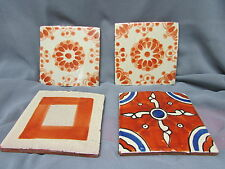 4 Vintage Ceramic Tile, Art Pottery Tiles, Red Clay , Hand made Hand Painted.