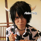 Reborn Lambo Cosplay Hair Short Layered Style Black Anime Men Women Wig +Wig Cap