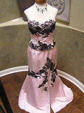 NWT JOVANI prom pageant evening formal  cocktail CORSET dress Pink/black lace 6