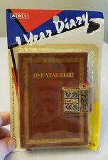 Vintage 1980 One Year DIARY With Lock & Key Faux Leather Cover ADI NEW