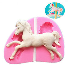 1× Silicone Carousel Horse Fondant Mold Chocolate Cake Gum Baking Mould Decor