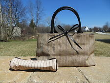 NEW - Estee Lauder small tote bag with small roll case - brown herringbone