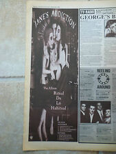 "JANES ADDICTION -RITUAL DE LO HABITUAL TOUR B&W N.M.E. ADVERT PICTURE 15"" X 5.5"""