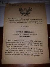 REGIO DECRETO 1875 PIACENZA ST FERROVIARIA S. NICOLò mette GRAGNANO ad AGAZZANO