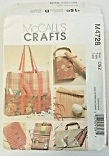 McCall's Crafts M4728 Five Versions of Knitting & Sewing Organizers Uncut 2004
