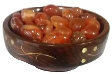 Carnelian Pebbles Tumbles Beads - A Power Stone in wooden bowl Reiki & Healing