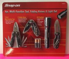 Snap-On Tools Set 4pc Multi Function Tool Two Folding Knives LED Flashlight bNEW
