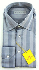 New ETRO Italy Gray Silver Stripe 100% Cotton Dress Shirt 39 M 15 NWT $395!