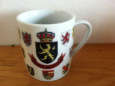 Belgiqe Belgie Belgium Coffee Mug  Coat of Arms  Map of Europe on Back  3 1/2""