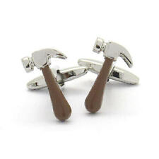 Brown & Silver Hammer Cufflinks With Gift Pouch Deluxe Builder Carpenter New