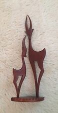 Vintage 1950's Retro Teak Figurine Of A Pair Of Deer. 17'' Tall