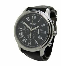 Fendi Classico F253011011 Mens Chrono Stainless Black Leather Date 42mm Watch