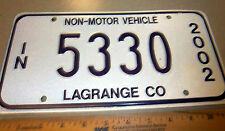 Indiana LICENSE PLATE 2002 NON-MOTOR VEHICLE Amish Buggy Plate, 5330, lagrange