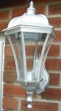 1 X ORLIGHT EXTERNAL OUTSIDE OUTDOOR WALL LIGHT CURVED BEVELD GLASS SILVER