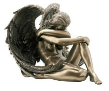 """6.5"""" Nude Sexy Female Angel Statue Collectible Erotic Naked Woman Winged Sitting"""