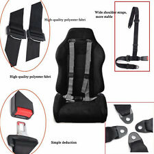 Universal Black Car Vehicle 4 Point Racing Sport Safety Harness Strap Seat Belt