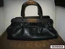 Authentic GUCCI by Tom Ford Leather Doctor's Bag, Unique Wood Handles! EUC