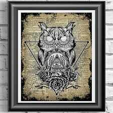 ART PRINT ON ORIGINAL ANTIQUE BOOK PAGE Witchcraft Wiccan Owl Dictionary